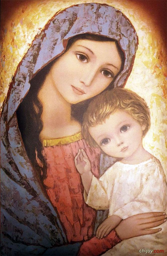 """بوستر الأمومة """" العذراء مريم والطفل يسوع """""""